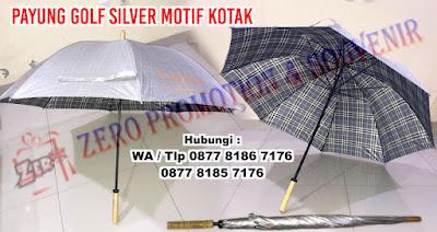 Payung Golf Promosi Anti UV, Payung golf Silver motif kotak