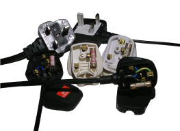 Selection of UK plugs showing fuses