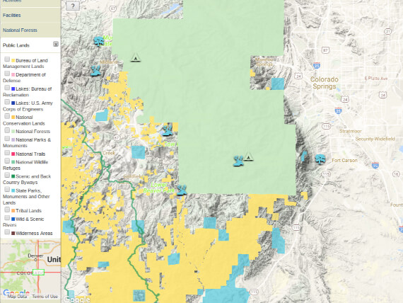 screen shot of us public lands map