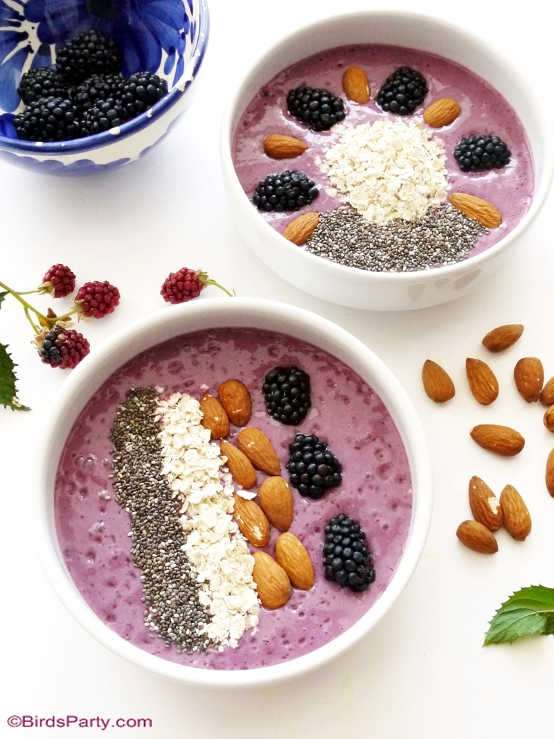 Blackberry, Banana and Maple Smoothie Bowl Recipe - BirdsParty.com