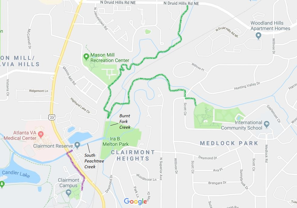 Medlock area neighborhood association mana south peachtree creek a visual recap green marks the existing south peachtree creek path that connects medlock park to mason mill park and on to north druid hills road publicscrutiny Images