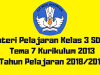 Materi Pelajaran Kelas 3 SD/MI Tema 7 Kurikulum 2013 Tahun Pelajaran 2018/2019