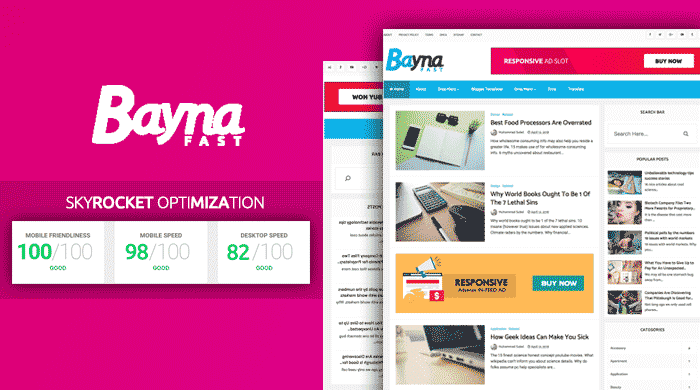 Bayna Fast Blogger Template To Skyrocket Your Blog Speed