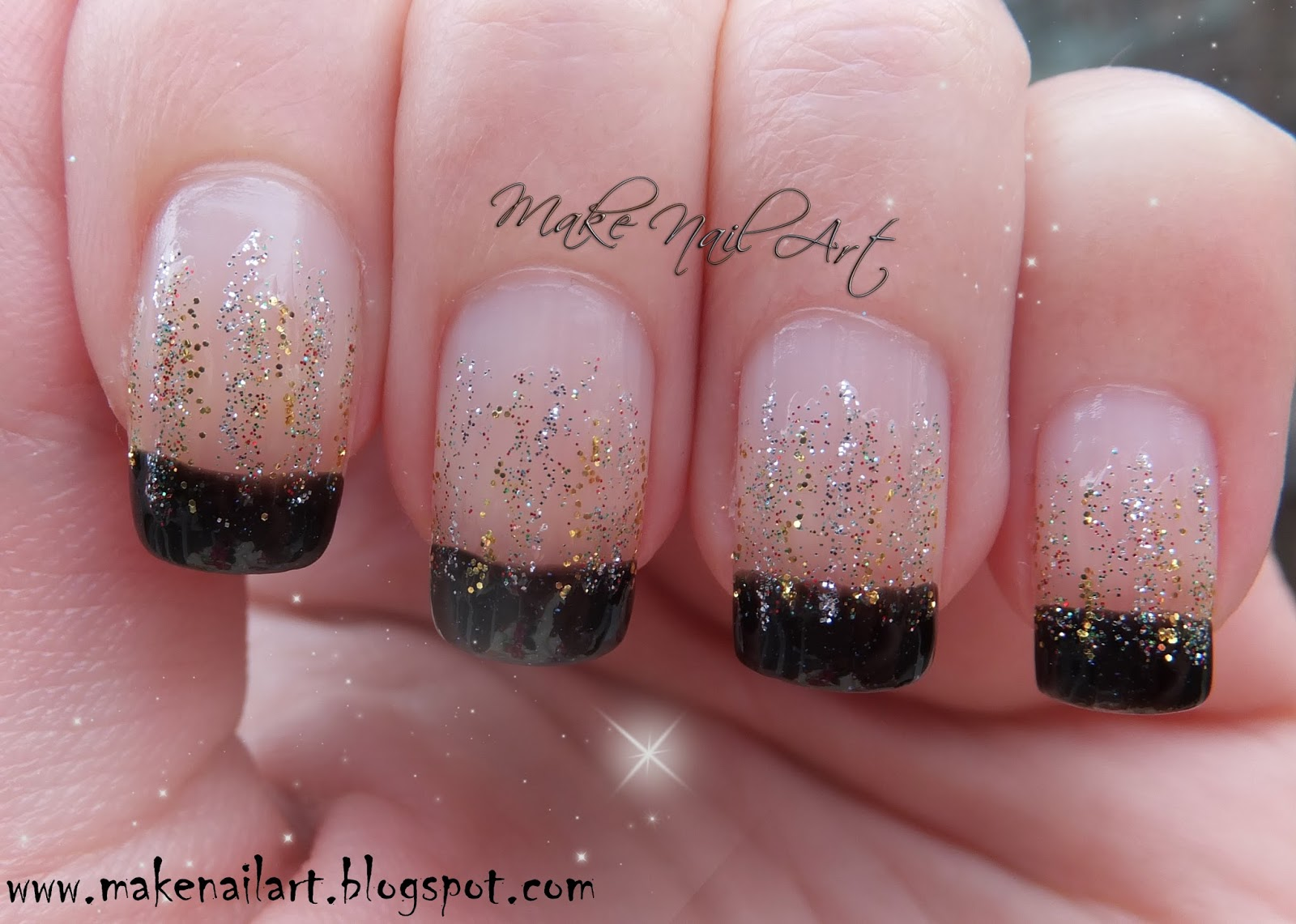 Make Nail Art: New Year\'s Eve Glitter Waterfall Nail Art Design Tutorial