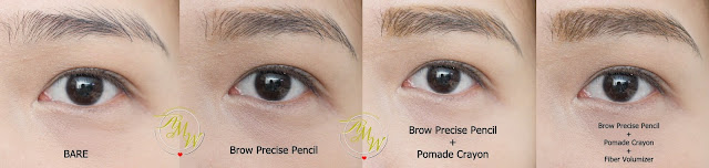 before and after photo using Maybelline Fashion Brow Precise Shaping Pencil Natural Brown Review, Maybelline FashonBrow Pomade Crayon BR-4 Review.  Maybelline Brow PRecise FIber Volumizer Mascara in Soft Brown Review