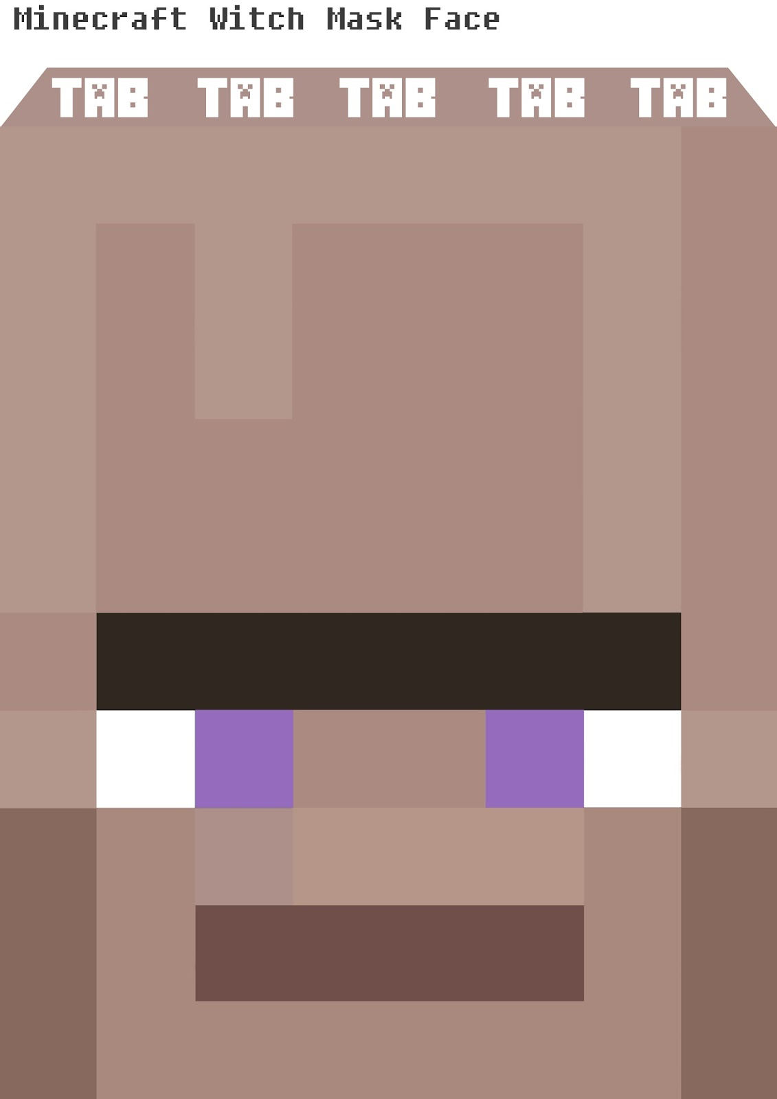 This is a graphic of Minecraft Masks Printable for white