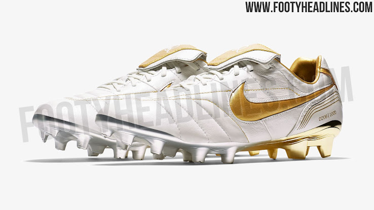 3a5b20ec3d1 Nike 10R Tiempo Legend 7 Elite - White   Gold. This picture shows the Nike  10R Tiempo Legend 7 Elite soccer cleats.