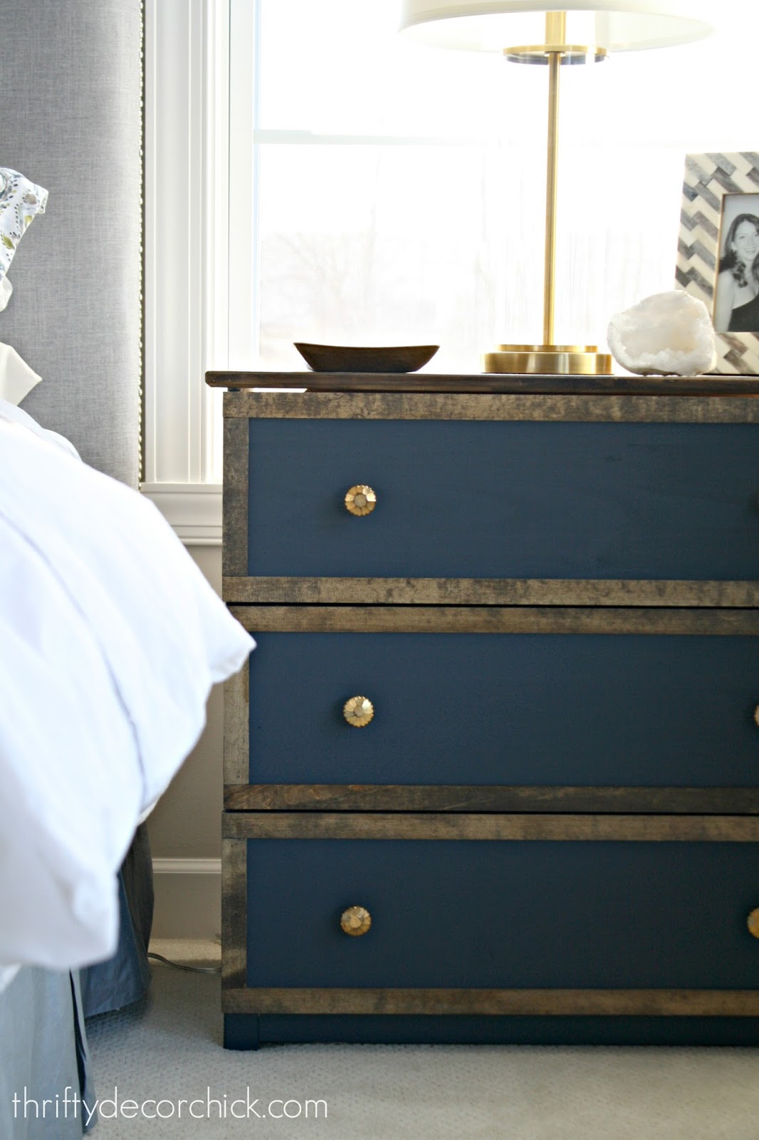 Beautiful blue dresser with wood trim