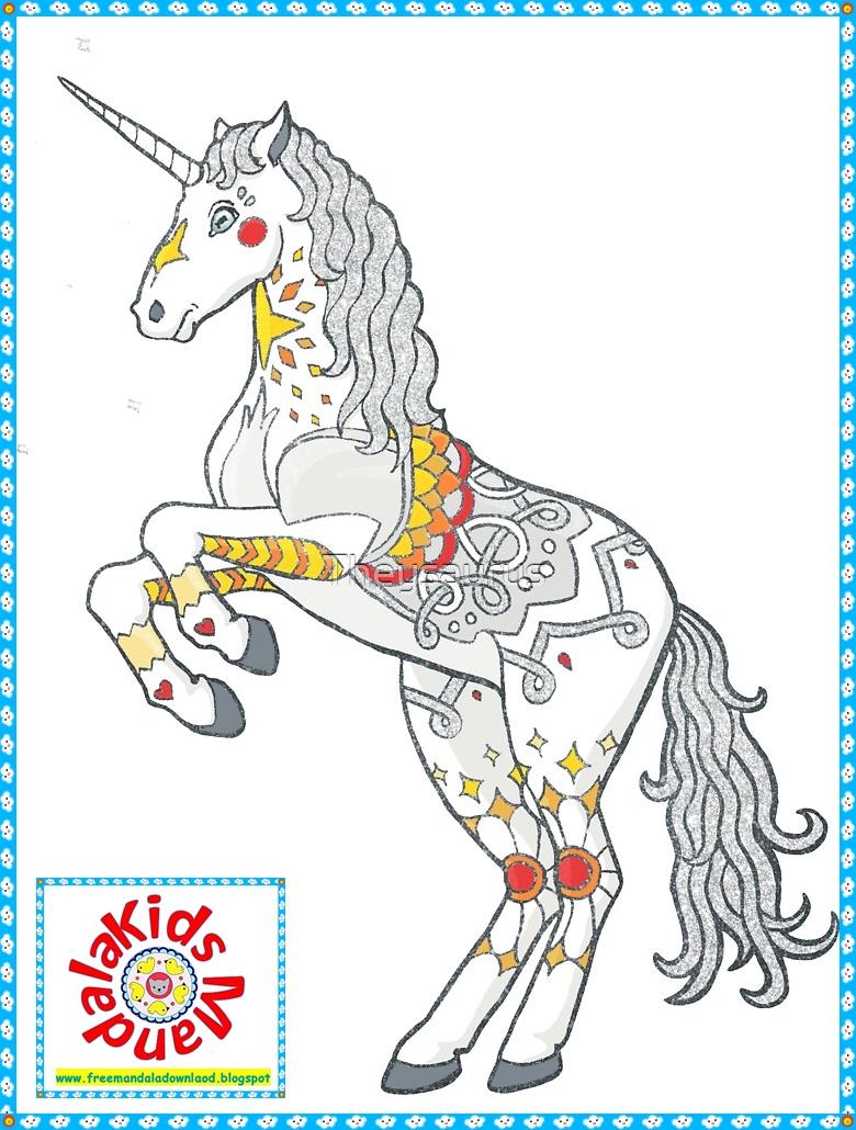 unicorn mandala for kids  free mandala