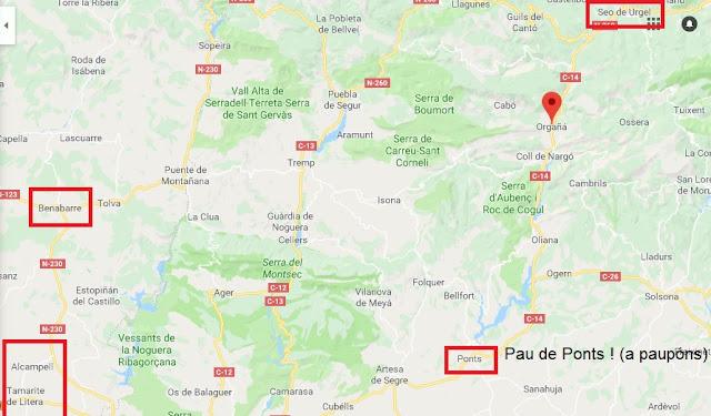 Orgañá, homilíes, mapa, google