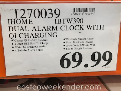 Deal for the iHome IBTW390 Dual Alarm Clock with Qi Charging at Costco