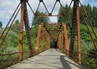 Sunlit trusses of the Wohler Bridge, Forestville, California