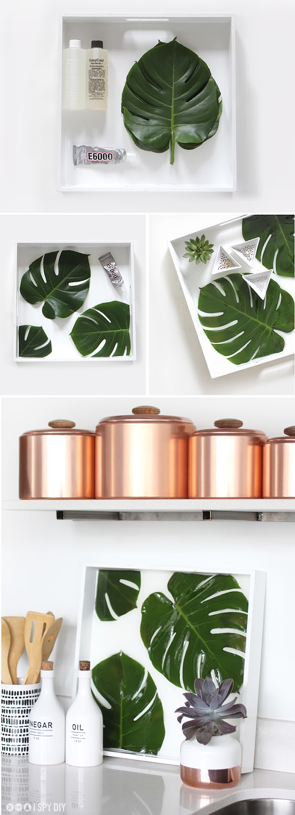 Bandeja diy con monstera