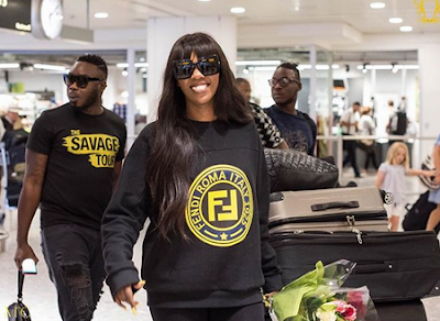 Photos Of Tiwa Savage As She Arrives London For The Savage Tour
