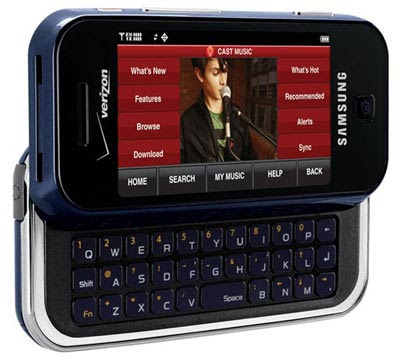 slide cell phone, verizon, samsung, keyboard, touch