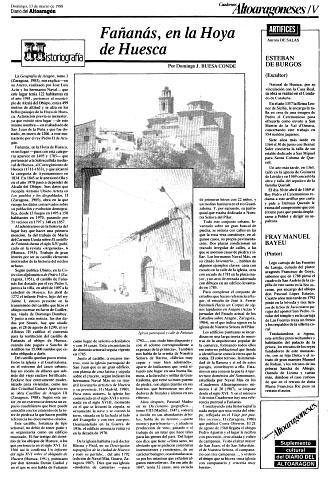 Fañanás, en la Hoya de Huesca