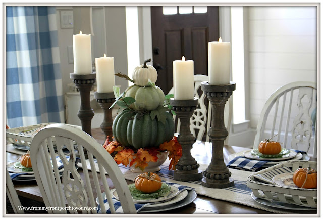 french country-french farmhouse-cottage style-dining room-fall centerpiece-buffalo check-farmhouse style-from my front porch to yours