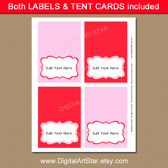 Pink and red printable tent cards