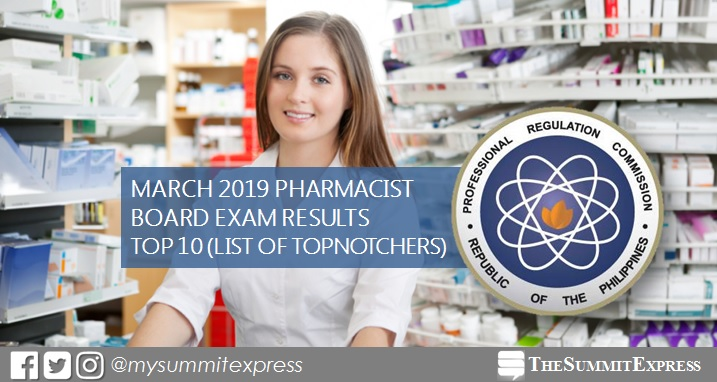 RESULT: March 2019 Pharmacist board exam top 10 passers