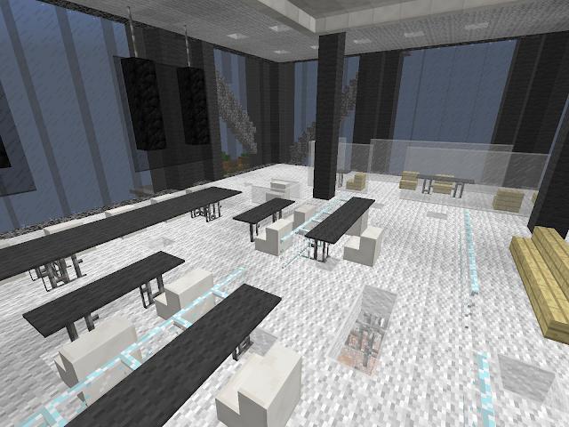 Binnenkant van een kantoorgebouw in Minecraft
