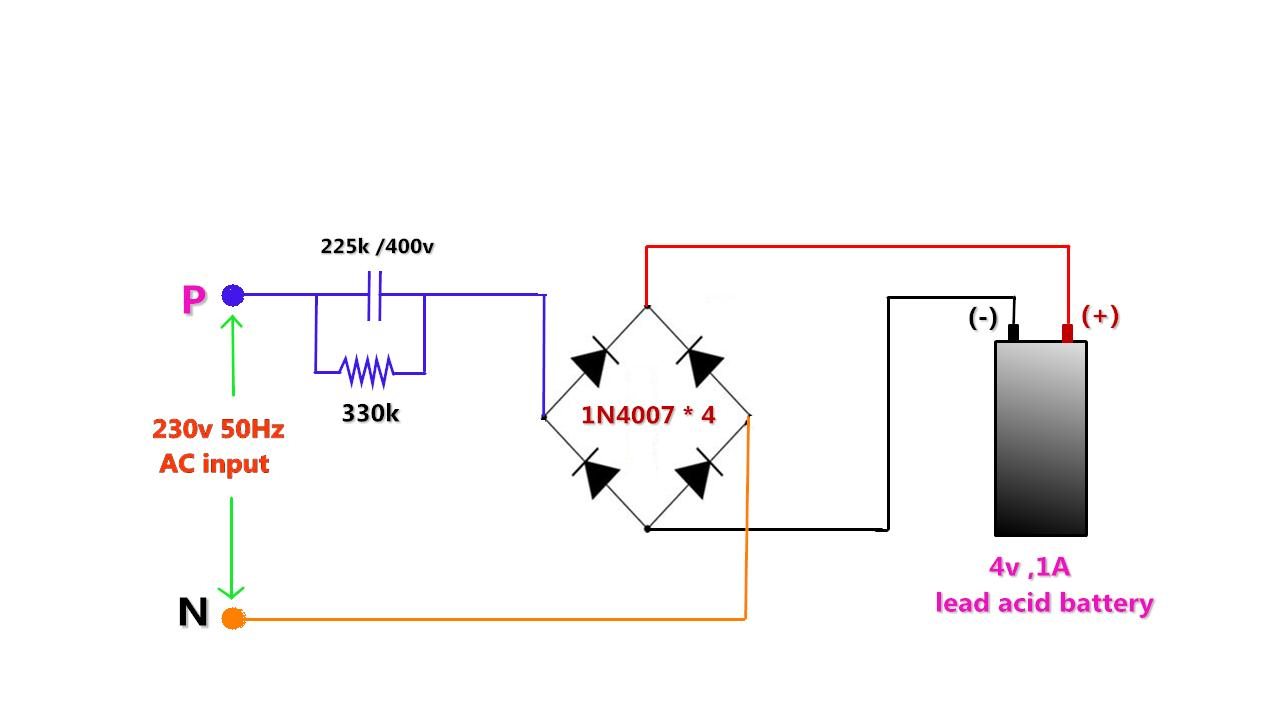 medium resolution of to make 4v 1ah lead acid battery charger without transformer using the transformerless