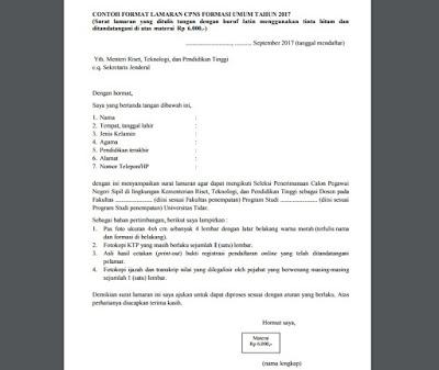 Contoh Surat Lamaran CPNS Kemenristek Dikti Resmi Baik Dan Benar