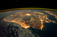 Iberian Peninsula at night seen from International Space Station