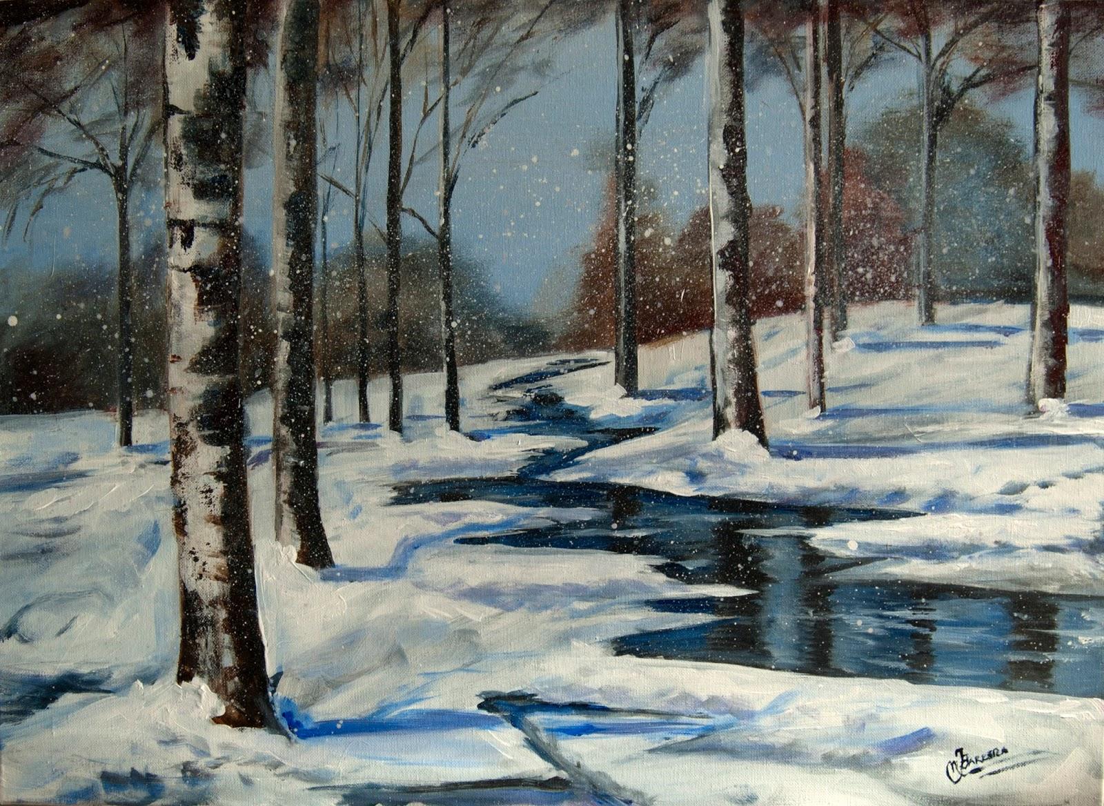 Acuarelas leos y t cnicas mixtas de m jos barrera - Paisajes nevados para pintar ...