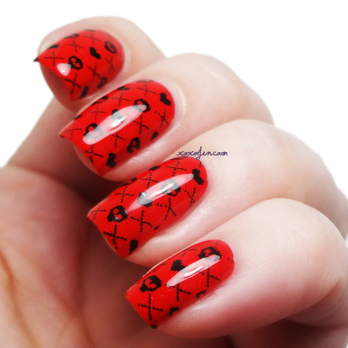 xoxoJen's swatch of b.i.t.c.h. by jaclyn De-Flowered with stamping nail art
