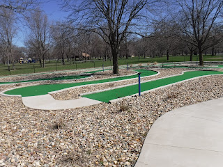 wheelchair accessible 9 hole free mini-golf course in the adaptive sports complext Miracle Field in Riverside Park in Sioux City, Iowa