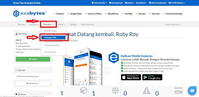 Pilih opsi manager dns pada menu domain exabytes