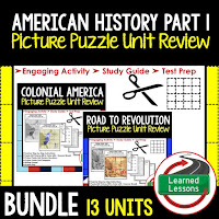 American History Picture Puzzles are great for TEST PREP, UNIT REVIEWS, TEST REVIEWS, and STUDY GUIDES