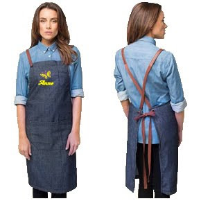 Personalized Denim apron with name embroidery