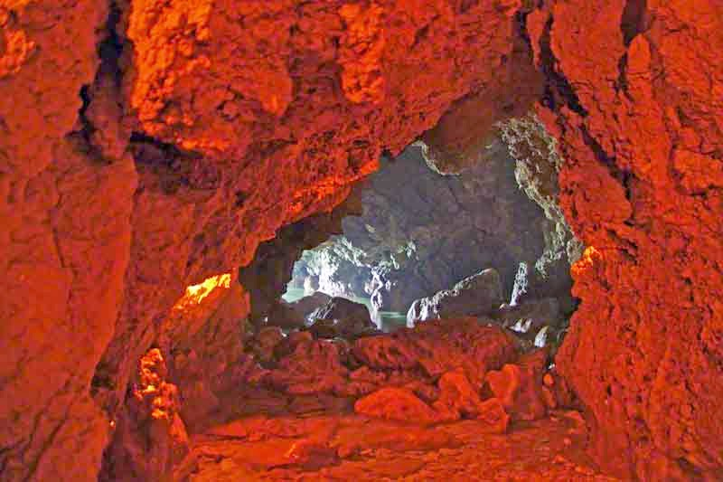 view inside candle lit cave