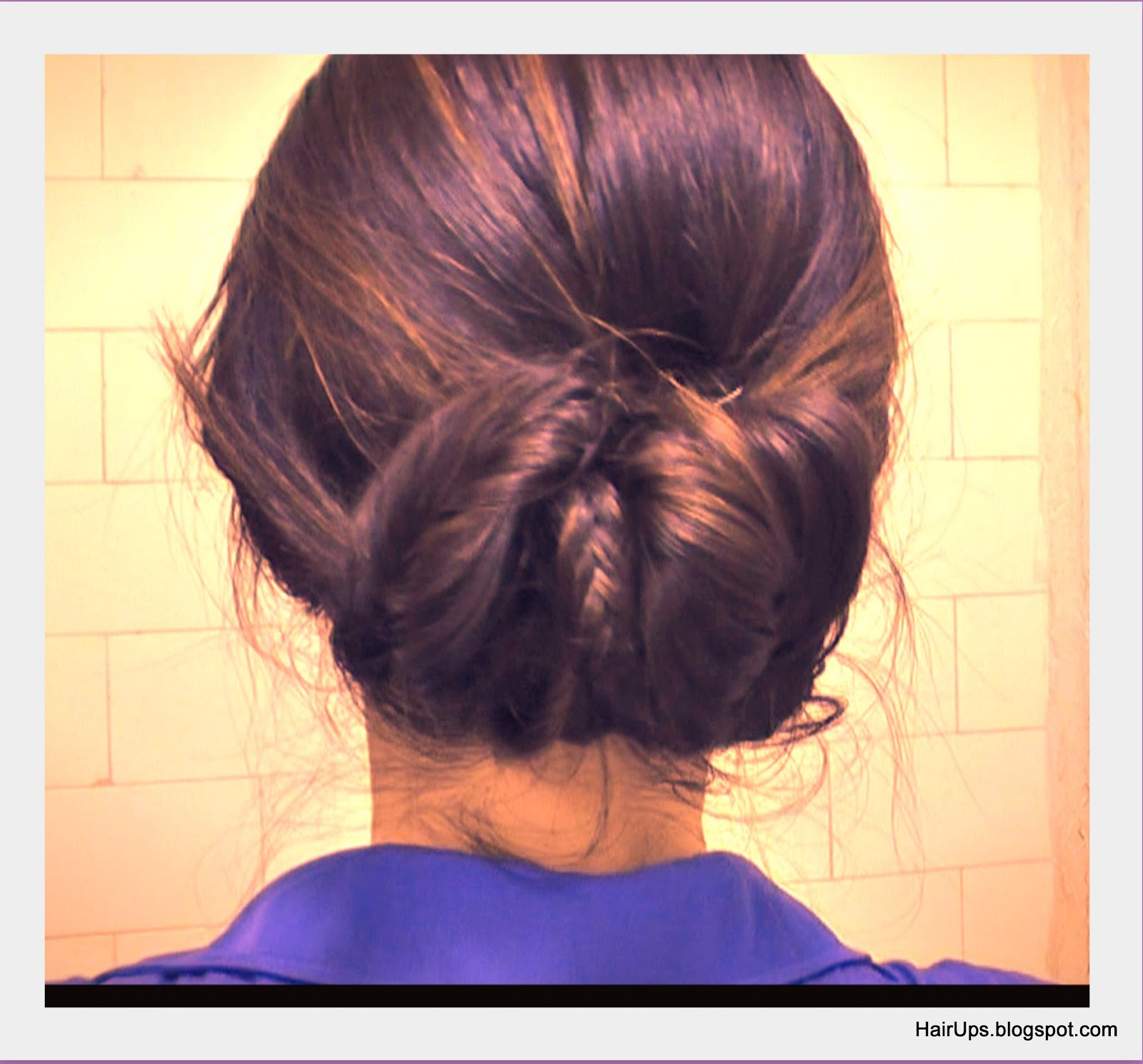 how to fishtail braid sock bun/chignon updo on medium long hair