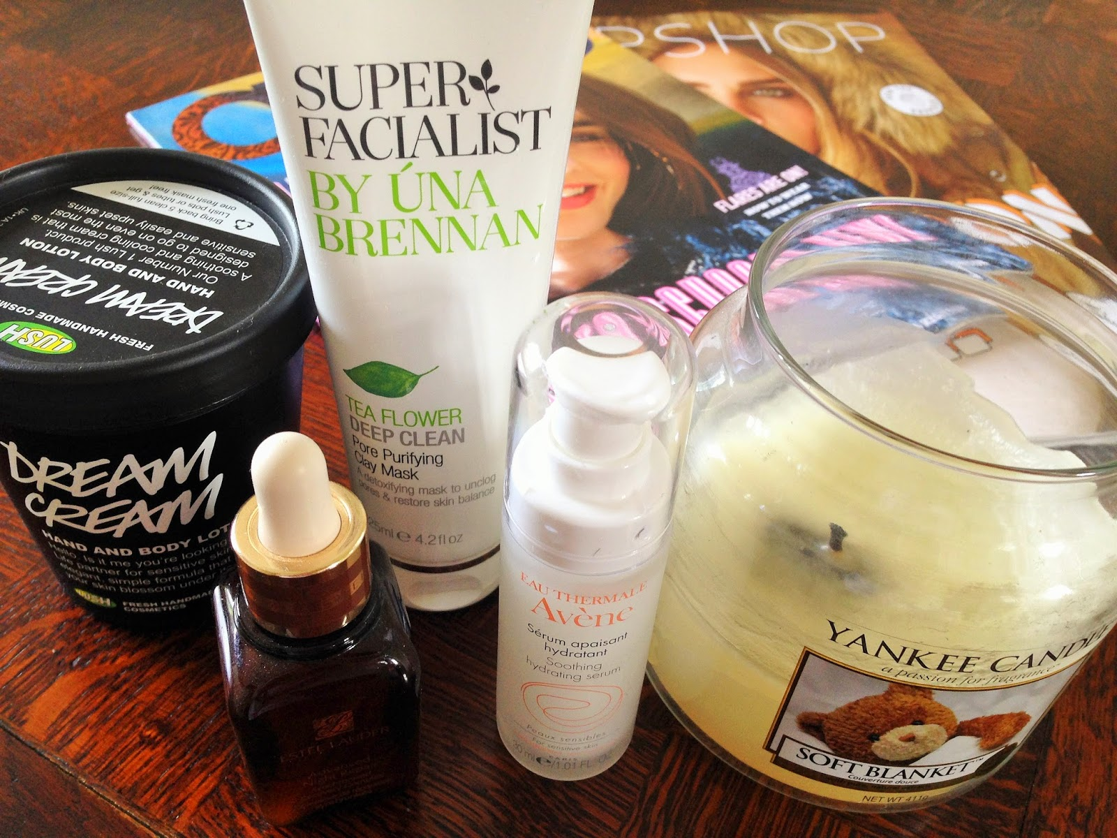 Pamper Products Estee Lauder, Lush, Avene and Una Brennan