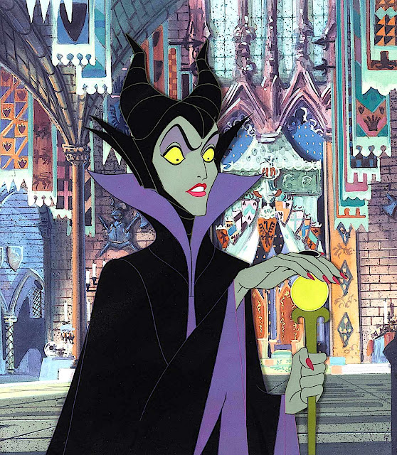 Disney animation, 1959 evil witch with wand in castle, color cel on background