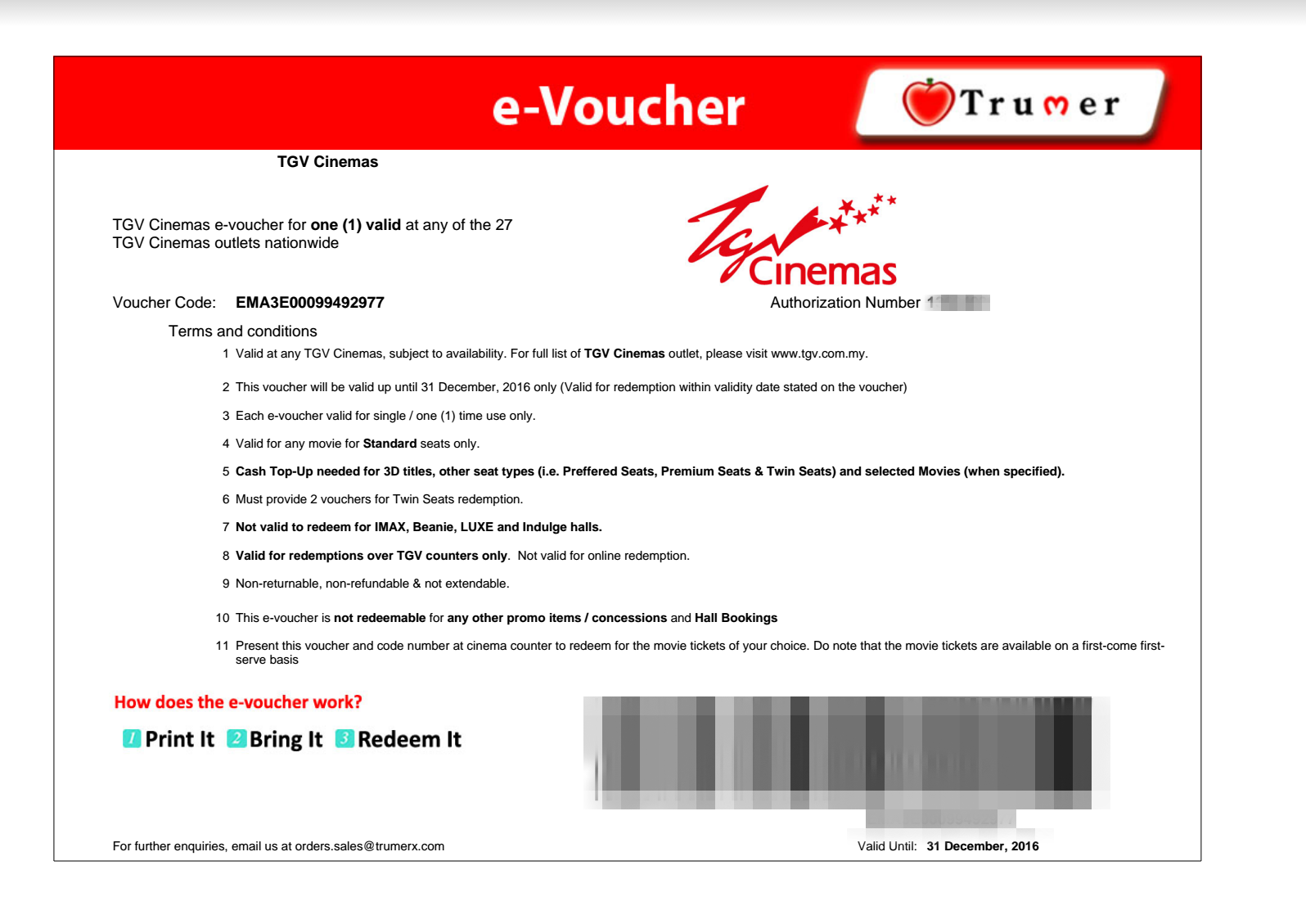 the TGV Movie Voucher you will receive after you have activated and verify  your TrumerX account