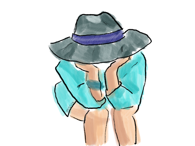 Sprinkle on Glitter Blog// tips for improving in procreate// seated girl with hat