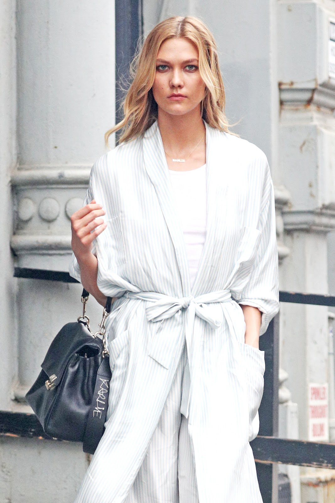 Karlie Kloss Wows in Pale Pinstripes Out in NYC
