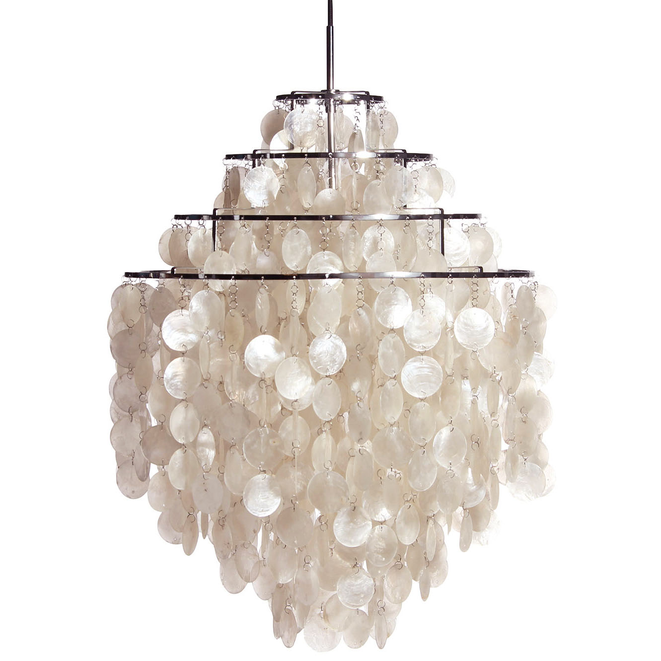 Large White Fun 0 Dm Shell Capiz Ceiling Light Pendant Chandelier By Verner Panton