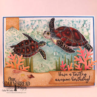 Our Daily Bread Designs Stamp/Die Duos: Turtle Love, Paper Collection: By the Shore, Custom Dies: Pierced Rectangles, Double Stitched Pennant Flags, Grass Border, Fancy Foliage
