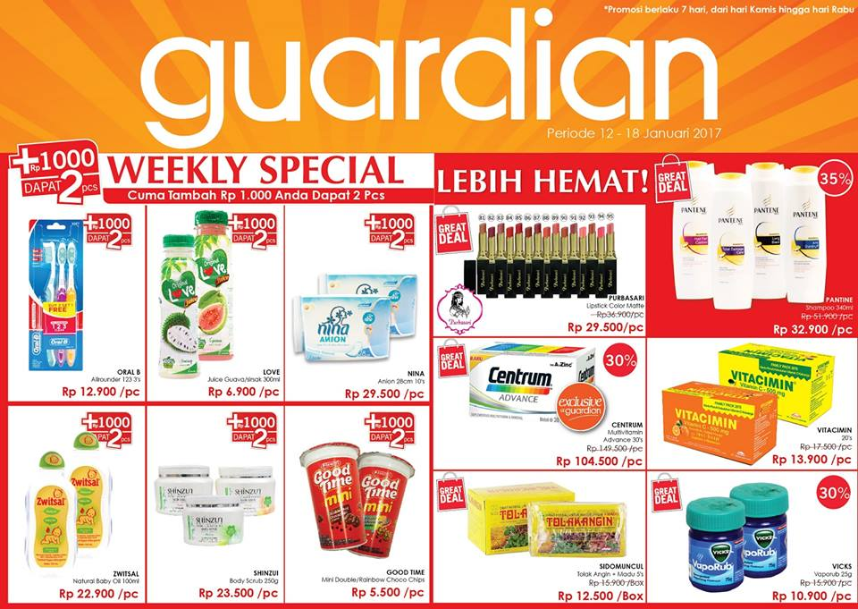 Katalog Harga Promo Guardian 12 – 18 Januari 2017