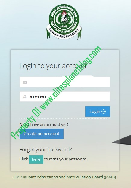 JAMB Change of Course/Institution Login Page