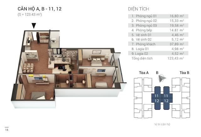 Thiết kế căn hộ 11, 12 chung cư Tứ Hiệp Plaza