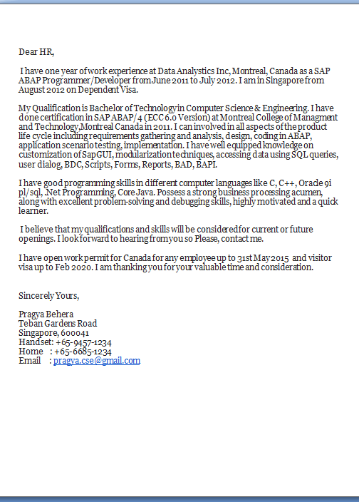 abap developer cover letter