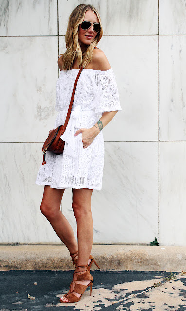 Off Shoulder Top with white shorts, sunglasses and saddle bag