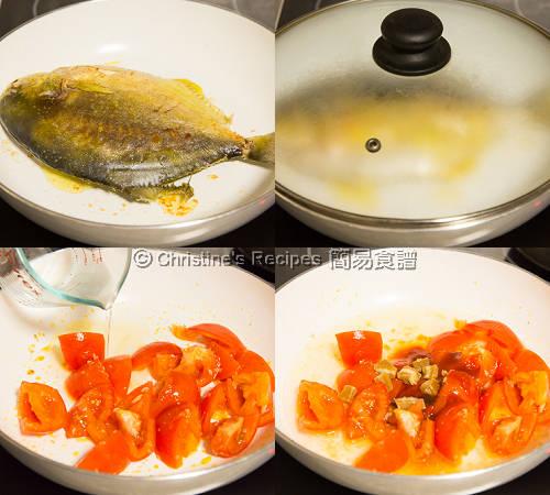 是拉差茄汁金鯧魚製作圖 Golden Pomfret in Spicy Tomato Sauce Procedures