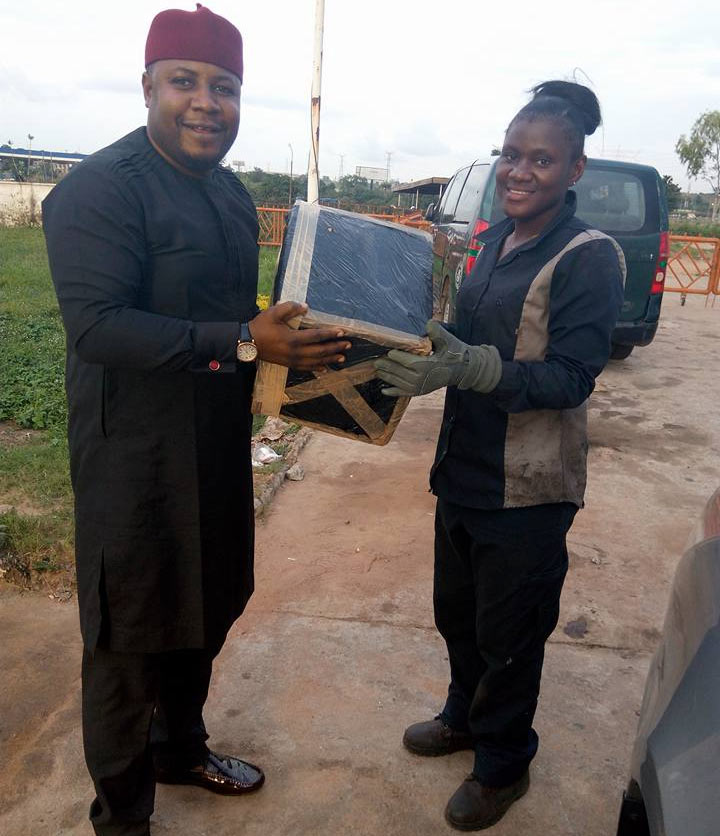 Viral female mechanic Blessing gets gift from abroad-based Naija guy