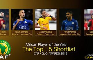 جائزة احسن لاعب افريقي 2016 رياض محرز و اسلام سليماني ضمن المرشحين